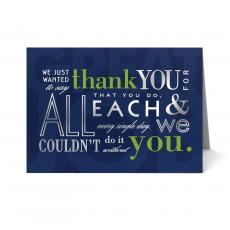 New Greeting Cards - Couldn't Do It Without You Thank You Card 25 Pack