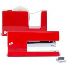 Closeout and Sale Center - Brighten Up Red Stapler and Tape Dispenser Gift Set