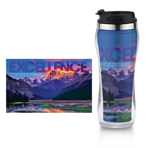 Excellence Mountain Flip Top Travel Mug