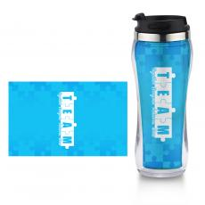 Closeout and Sale Center - Teamwork Puzzle Flip Top Travel Mug
