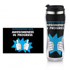 New Drinkware - Awesomeness in Progress Flip Top Travel Mug