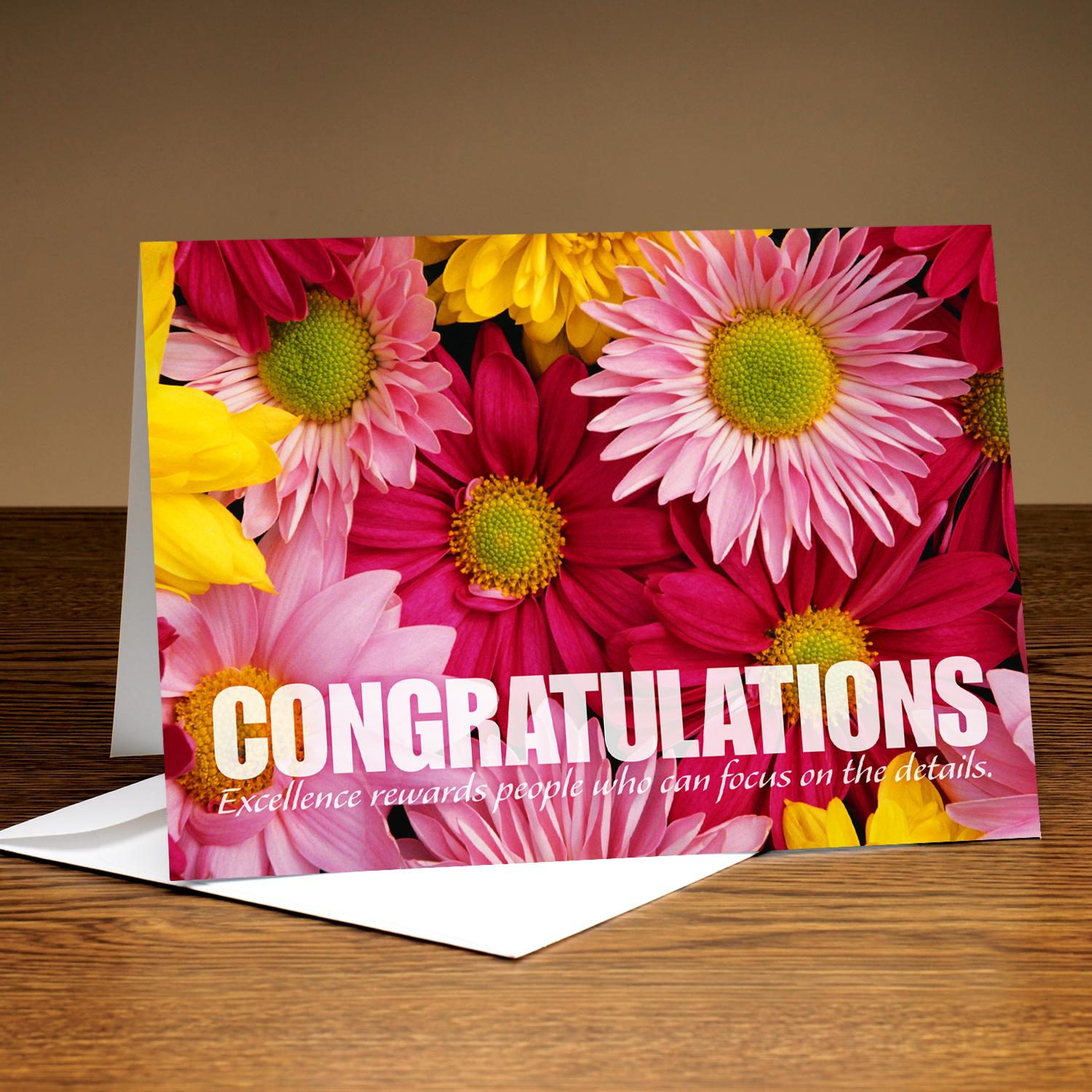 Congratulations Pink And Yellow Flowers 25 Pack Greeting Cards