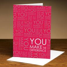 Closeout and Sale Center - You Make The Difference Red 25-Pack Greeting Cards