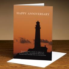 Anniversary Cards - Happy Anniversary Sunset Lighthouse Greeting Cards