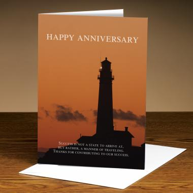 Happy Anniversary Sunset Lighthouse Greeting Cards