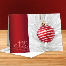 Happy Holidays Ornament in White Tree 25-Pack Greeting Cards