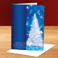 Seasons Greetings Sparkling Tree 25-Pack Greeting Cards