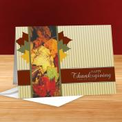 Happy Thanksgiving Autumn Leaves 25-Pack Greeting Cards