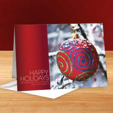 Happy Holidays Snow Covered Ornament 25-Pack Greeting Cards