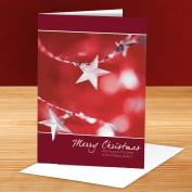 Merry Christmas Silver Stars 25-Pack Greeting Cards