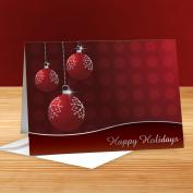 Happy Holidays Red and Silver Ornaments 25-Pack Greeting Cards