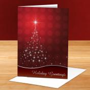 Holiday Greetings Red Star Tree 25-Pack Greeting Cards
