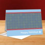 Happy Holidays Snowflakes Red & Blue 25-Pack Greeting Cards