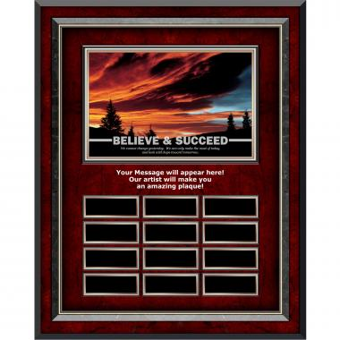 Believe & Succeed Sunset Rosewood Vertical Perpetual Plaque