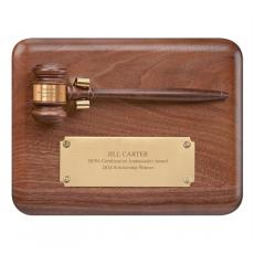 Engraved Plaques - Walnut Gavel Award Plaque