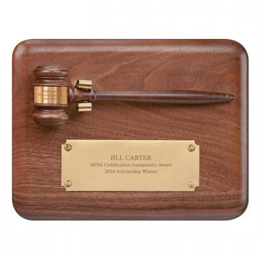 Walnut Gavel Award Plaque
