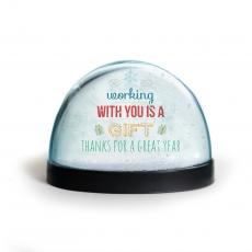 Holiday Themed Gifts - Working With You Is A Gift Snow Globe