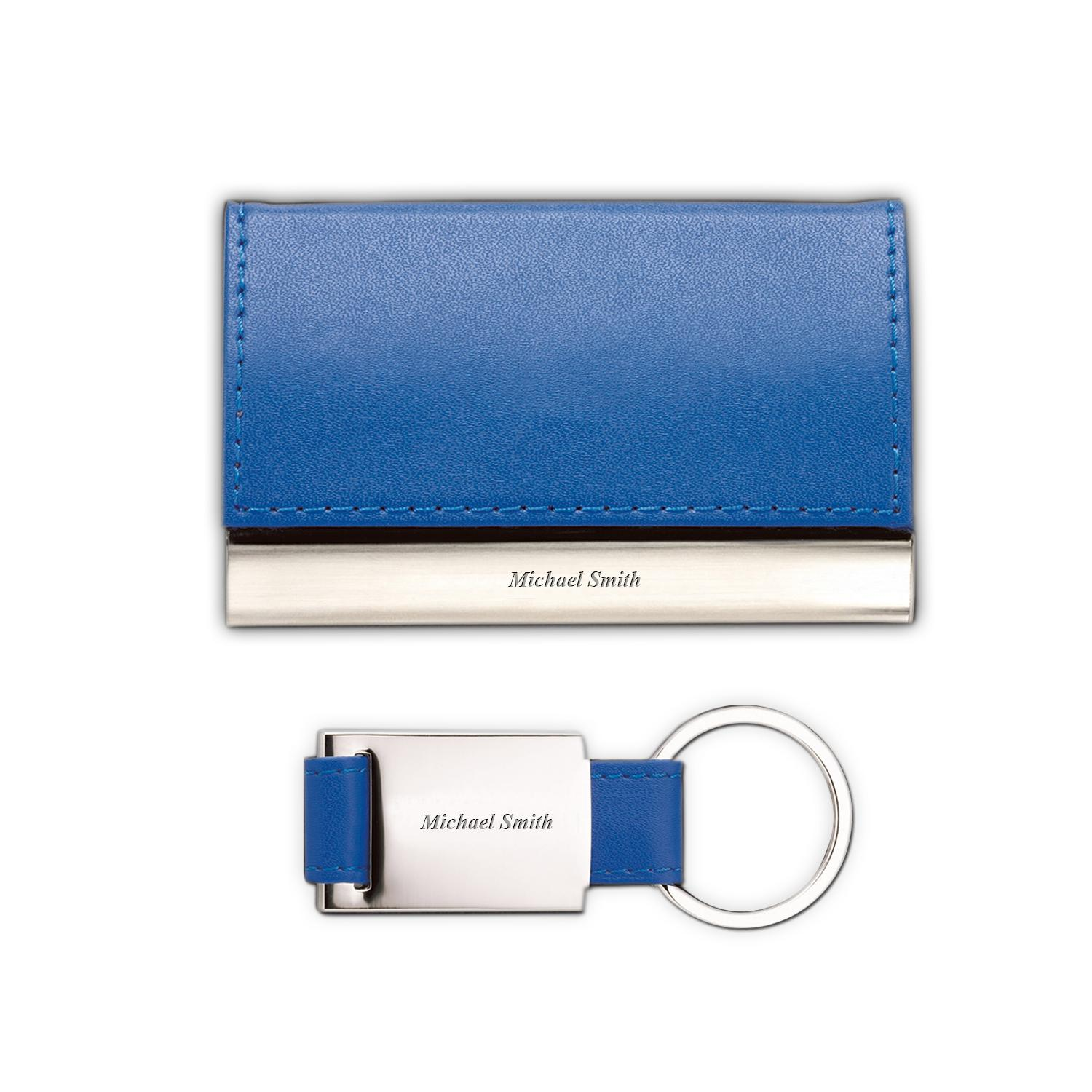 Blue Personalized Business Card Holder Shop by Type