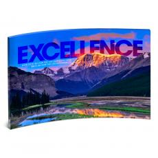 Modern Motivational Prints - Excellence Mountain Curved Desktop Acrylic