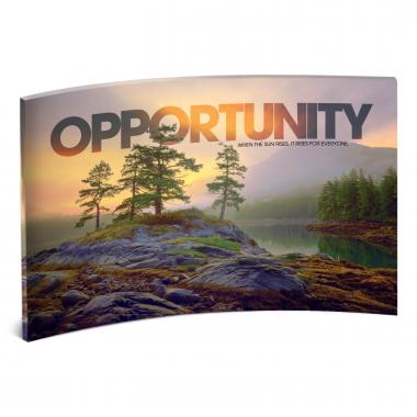 Opportunity Mountain Lake Curved Desktop Acrylic