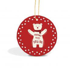 Holiday Themed Gifts - Thanks Polar Bear Lace Ceramic Ornament