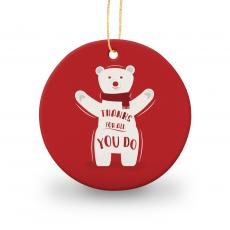 Holiday Themed Gifts - Thanks Polar Bear Round Ceramic Ornament