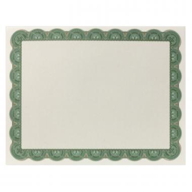Green & Gold Scalloped Certificate Paper