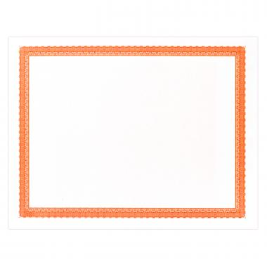 Orange Bordered Certificate Paper