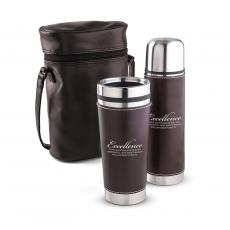 Gift Sets - Excellence Leatherette Tumbler & Thermos Gift Set