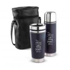 Executive Drinkware - Making a Difference Leatherette Tumbler & Thermos Gift Set