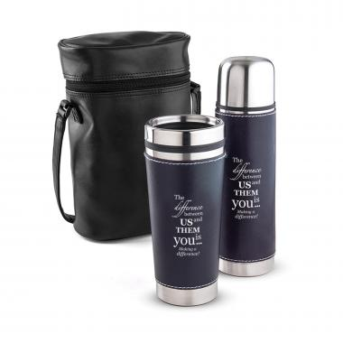 Making a Difference Leatherette Tumbler & Thermos Gift Set