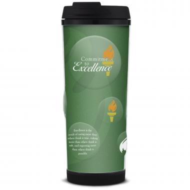 Commitment to Excellence Glitter Travel Tumbler