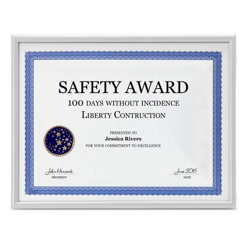 White Aluminum Certificate Frame