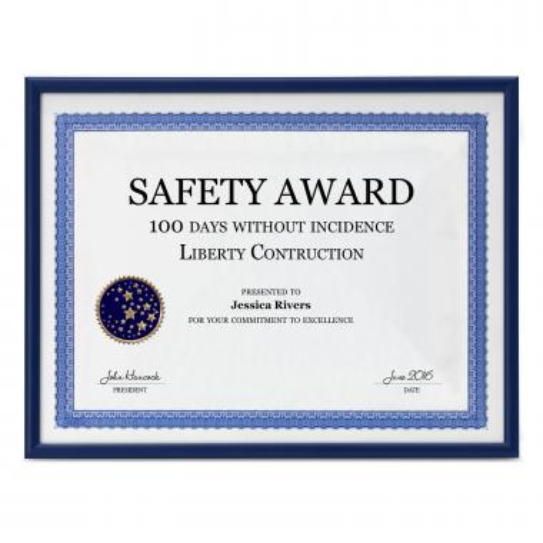 Blue Aluminum Certificate Frame