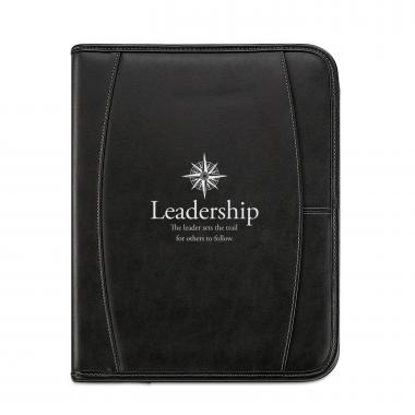 Leadership Compass Leather Padfolio