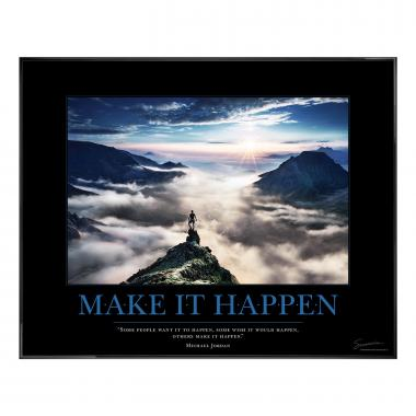 Make It Happen Mountain Motivational Poster