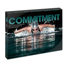 Modern Motivation - Commitment Swimming Infinity Edge Acrylic Desktop