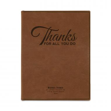 Thanks for All You Do Personalized Vegan Leather Padfolio