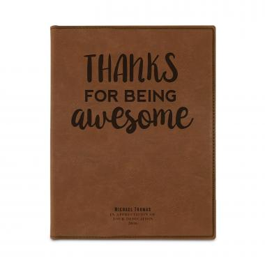 Thanks for Being Awesome Personalized Vegan Leather Padfolio