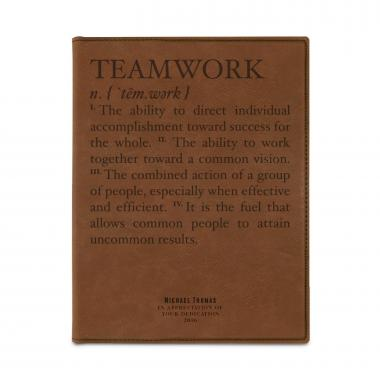 Teamwork Definition Personalized Vegan Leather Padfolio