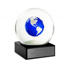 Executive Sculptures - Brilliant Blue Earth Snow Globe
