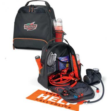 Roadside safety kit with air compressor