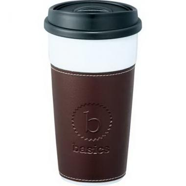 Hampton - Double-wall 16 oz ceramic tumbler with push on hard lid fits securely