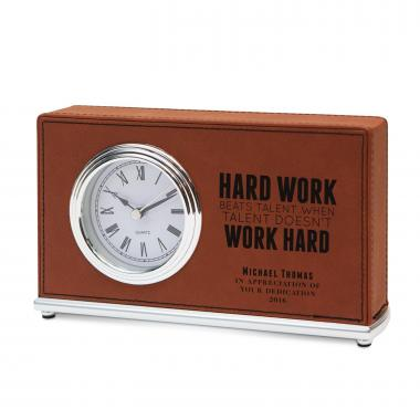 Hard Work Personalized Leather Clock
