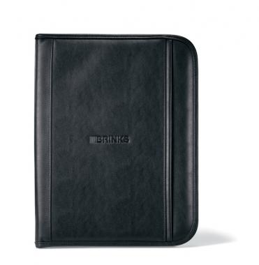 Insight - Black simulated leather padfolio with calculator and paper pad