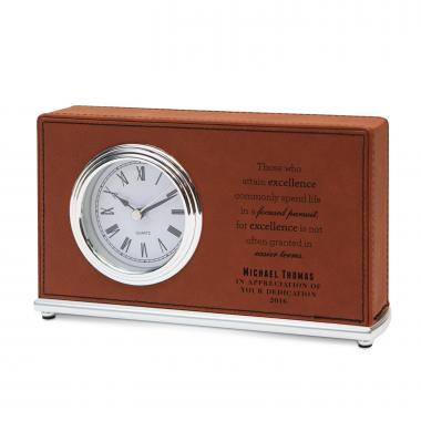 Pursuit of Excellence Personalized Leather Clock