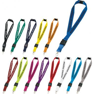 Hang In There - 1 inch wide polyester lanyard includes break-away cord and detachable plastic clip