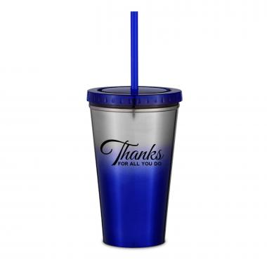 Thanks for All You Do 16oz Ombre Straw Tumbler