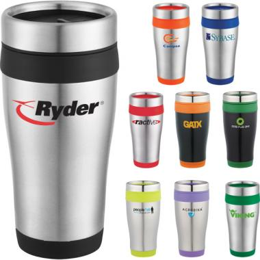 Carmel - 16-oz. Stainless steel travel tumbler with plastic liner
