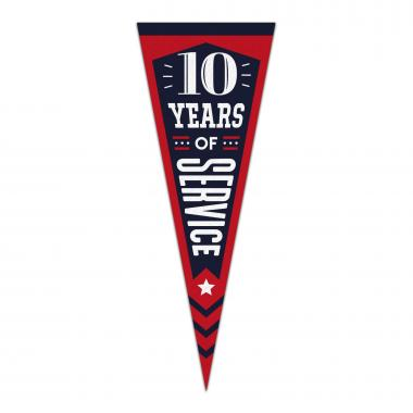 10 Years of Service Praise Pennant